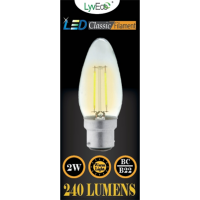 2w (240 lumens) LED Filament Candle - BC