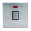 1 Gang 20a Double Pole Neon Switch, Screwless Stainless Steel