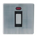 1 Gang 45a Neon Cooker Switch, Screwless Stainless Steel