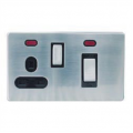 45a Neon Cooker Switch Socket, Screwless Stainless Steel