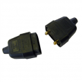 10a 2 Pin Connector, Rubberised Black