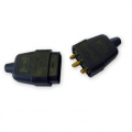 10a 3 Pin Connector, Rubberised Black