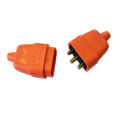 10a 3 Pin Connector, Rubberised Orange