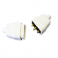 10a 3 Pin Connector, Rubberised White