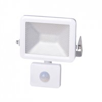 10w LED Slim Floodlight, PIR, IP44 - White