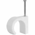 100 Pack 10mm Round Cable Clips White