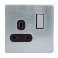 1 Gang 13a Socket, Screwless Stainless Steel