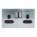 2 Gang 13a Socket, Screwless Stainless Steel