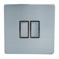 2 Gang 2 Way Light Switch, Screwless Stainless Steel
