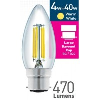 4w (= 40w) Clear LED Candle - BC