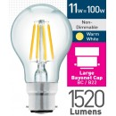 11w (= 100w) Clear LED GLS - BC