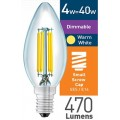 4w (= 40w) Dimmable Clear LED Candle - SES