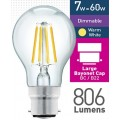 7w (= 60w) Dimmable Clear LED GLS - BC