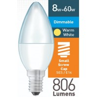 8w (= 60w) Dimmable Frosted LED Candle - SES