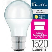15w (= 100w) Frosted LED GLS - BC