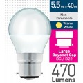 5w (= 40w) Frosted LED Round - BC
